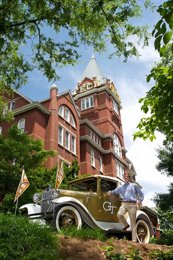 The Ramblin Wreck in front of Tech Tower