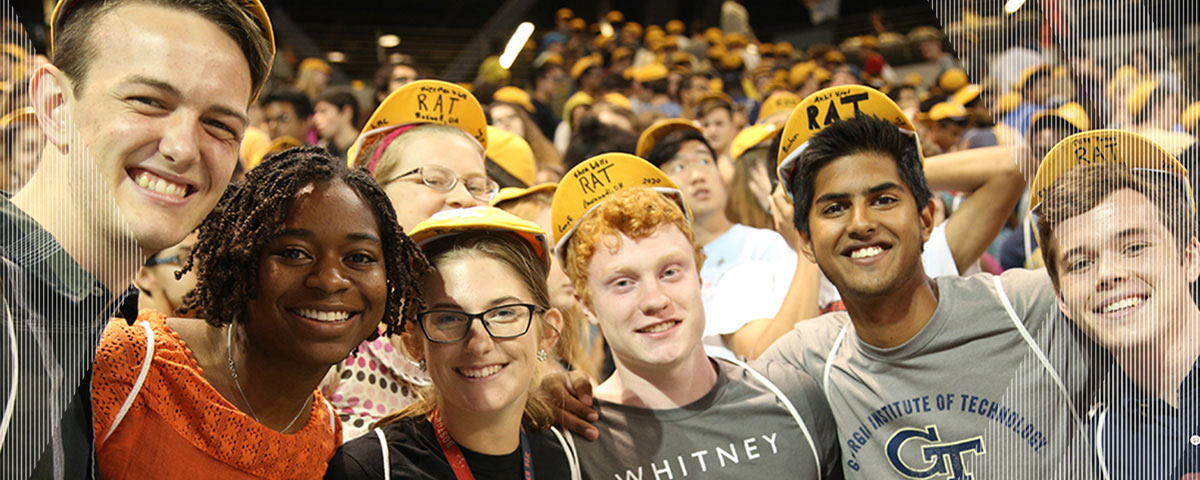 Students at convocation sporting their personalized RAT caps