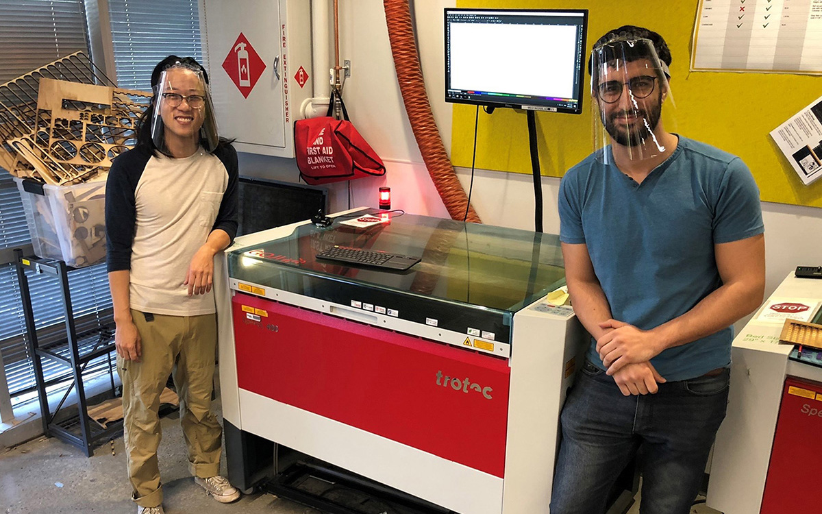 Laser cutting machine used to create frames for the face shields Georgia Tech has designed and is producing.