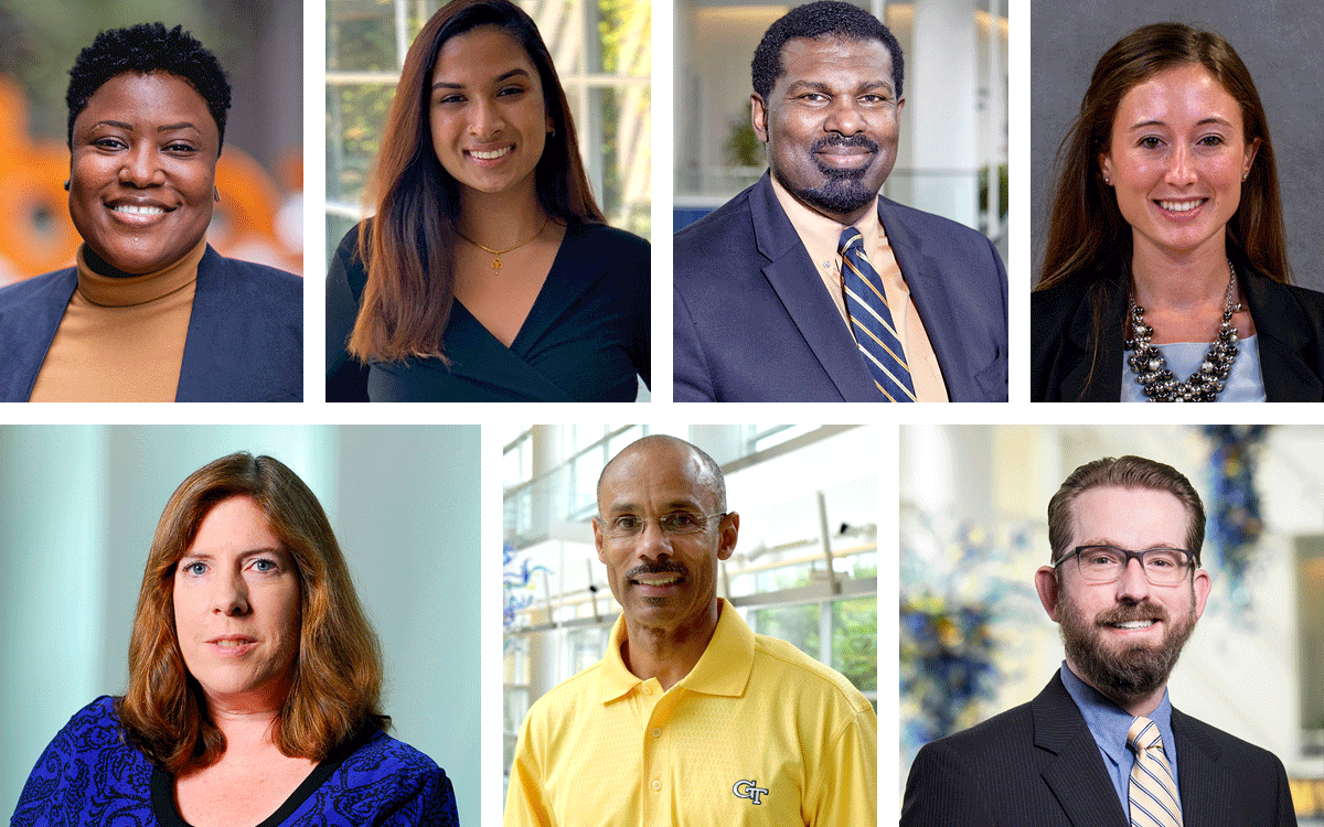 Headshots of seven Scheller College of Business students, faculty, staff, and alumni.