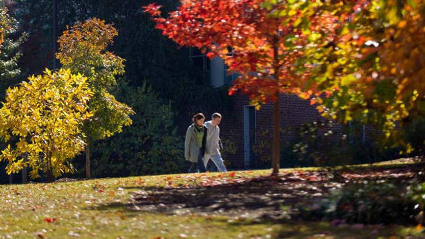Students strolling through Campus